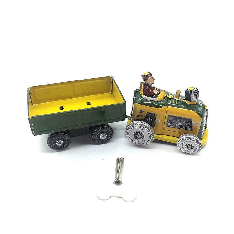 Retro jarum jam timah mainan, Klasik jarum jam timah traktor trailer traktor langka koleksi
