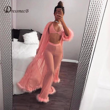 DRESSMECB Christmas Women Sexy See Through Mesh full Pants Breathable Leggings Trousers Casual  Feathers Stretchy Wide Leg Pants