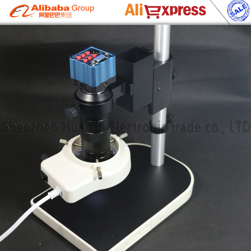 IR Remote Control mini VGA Industry Microscope Camera+C-mount Lens+ring Light+Stand 1/3 inch sensor for  Industry Lab