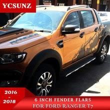 fender flares for ford ranger 2016 T7 accessories black mudguards wildtrak 2016+ car