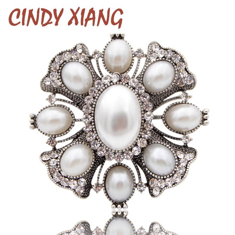 Vornehm Cindy Xiang Simulierte Perle Kreuz Broschen Für Frauen Weiß Farbe Große Mode Pins Barock Stil Zubehör Mantel Schmuck Geschenk Freigabepreis Broschen