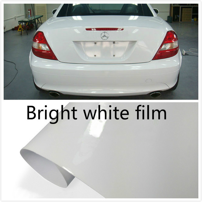 300mm x 1520mm Glossy white Vinyl Wrap Car and motorcycle sticker Adhesive Air Release Bubble Sticker Decal Film Car styling