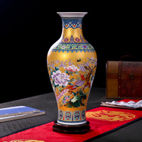 Luxury Jingdezhen Antique Porcelain Enamel Flower Pattern Vase Classical Decoration Large Chinese Vases Ancient Palace Vases