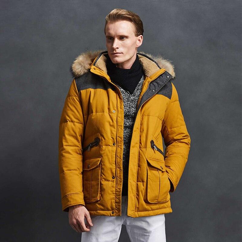 2018 Men Down Jacket 90% White Duck Down High Quality Yellow Winter Coat Fashion Jacket Short Parka Coat Casual Free Shipping