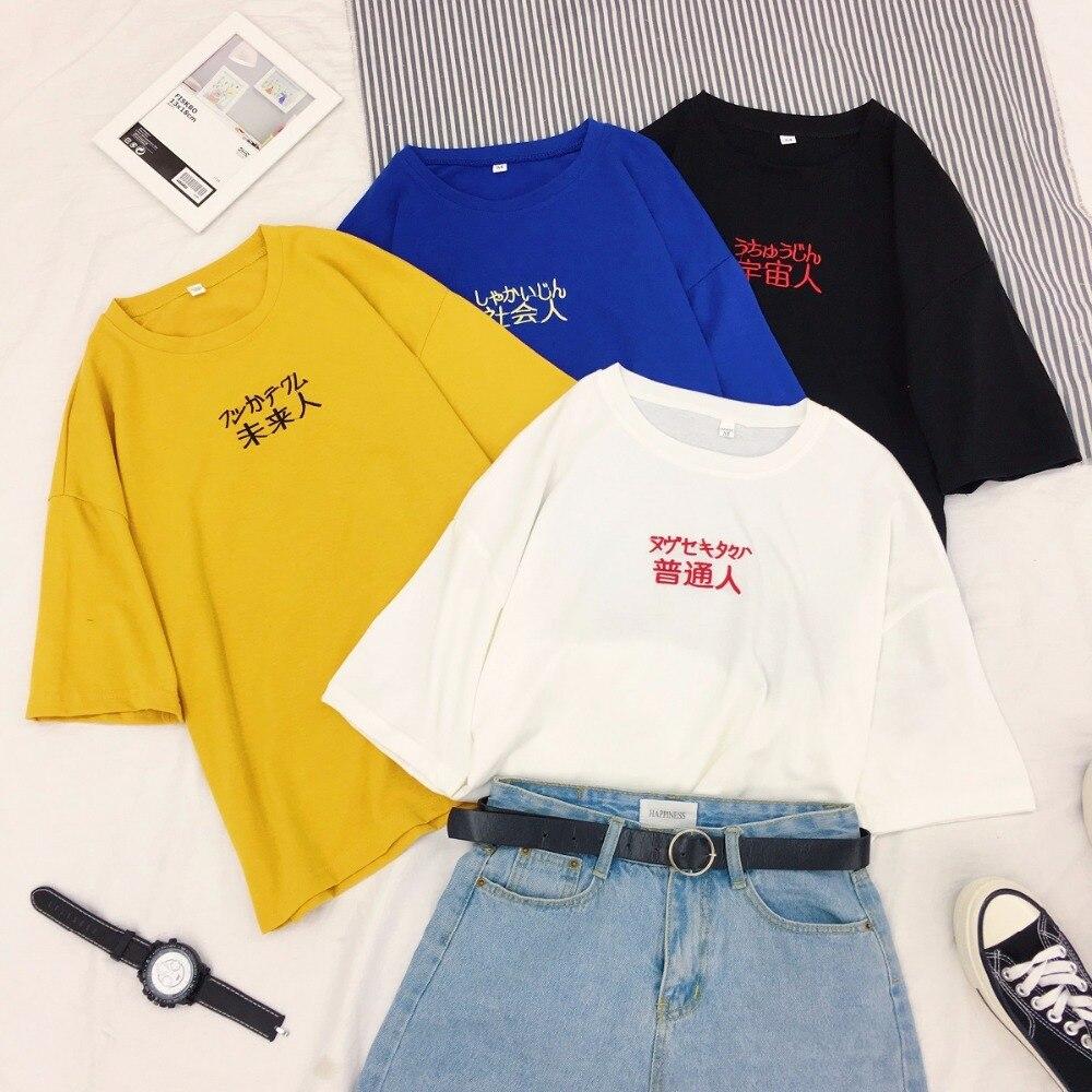 ><font><b>New</b></font> <font><b>Chinese</b></font> <font><b>Style</b></font> Korean Text Print Tee Summer Harajuku Women T Shirt Tops O-Neck Femme Cotton Large Short Sleeve Camiseta Mujer