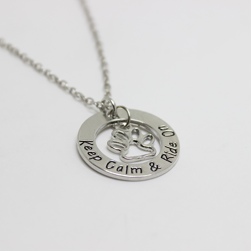 New fashion jewelry Keep Calm & Ride OnNecklace Paw prints charm necklace Hand Stamped Charm Necklace for wo men jewelry