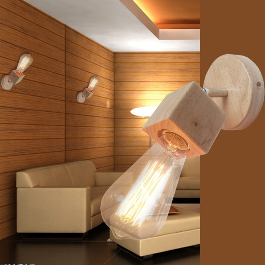 Modern Simple Wooden Wall Lamp For Living Room Bedroom Bedside Reading Light  Adjustable Angle Led Industrial Wall Sconces Light In Wall Lamps From  Lights ...