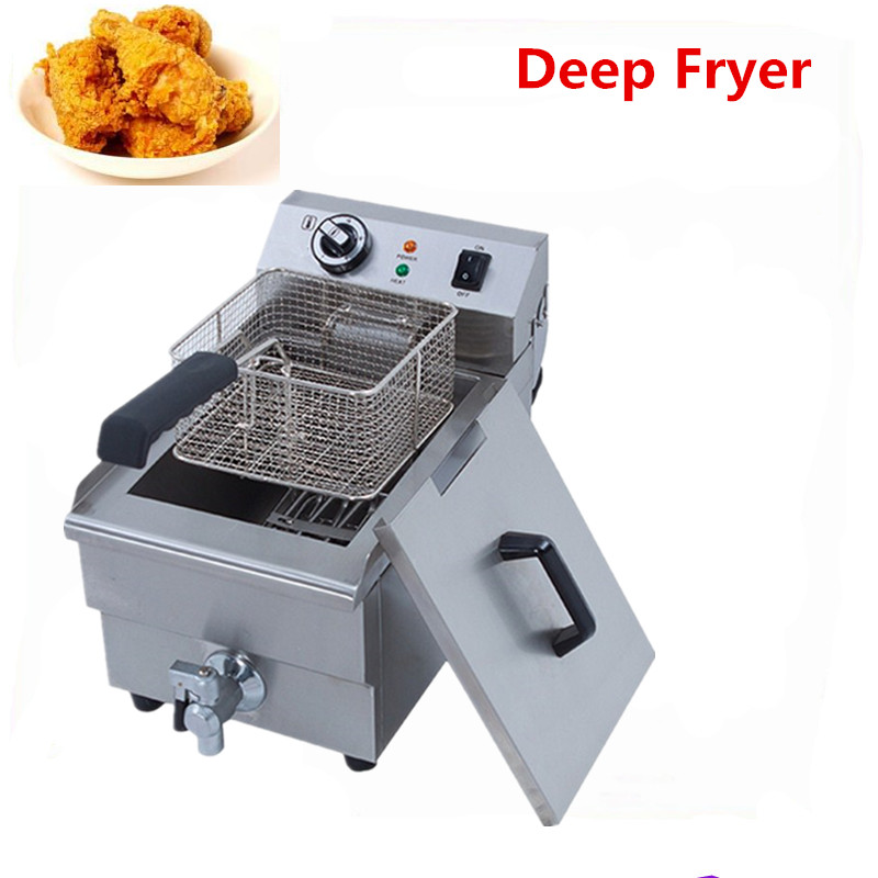Stainless steel deep fryer commercial frying machine single tank electric fryer machine oil Boiler shipule fast food restaurant 30l commercial electric chicken deep fryer commercial potato chips deep fryer frying machine