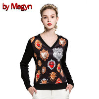 By Megyn Winter Women Fashion Pullover Wool Sweater Women V Neck Long Sleeve Elastic Print