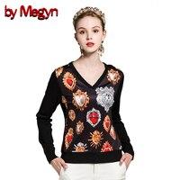 by Megyn winter women fashion pullover wool sweater women v neck long sleeve elastic print female knitted top jumper sweater