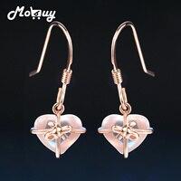 MoBuy MBEI012 Love Heart 100 925 Sterling Silver Jewelry Gemstone Rose Quartz Drop Dangle Earring Rose