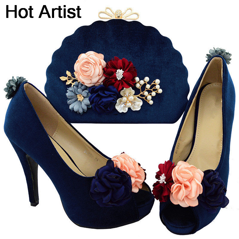 Hot Selling Fashion African Shoes And Bag Matching Set Hot Sale Elegant Spike Heels Shoes And Purse Set For Wedding Dress BL002 cd158 1 free shipping hot sale fashion design shoes and matching bag with glitter item in black