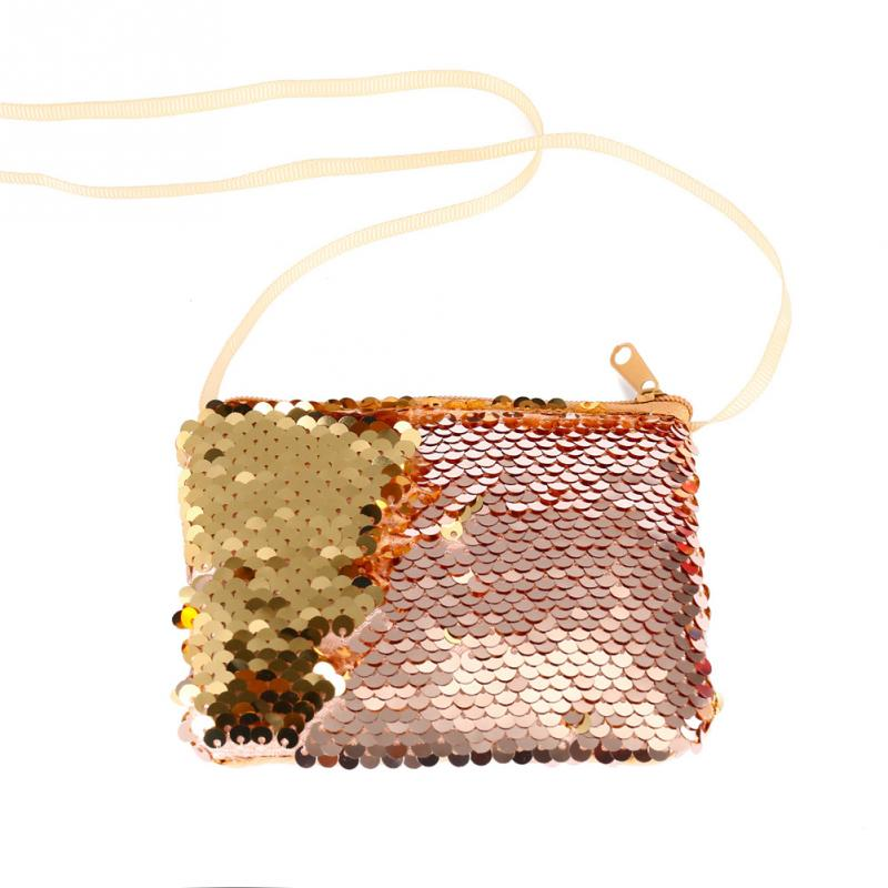 Children Mini Messenger Crossbody Bag For Kids Zipper Cute Mermaid Handbag Sequins Clutch Shoulder Bag Fashion New Hot