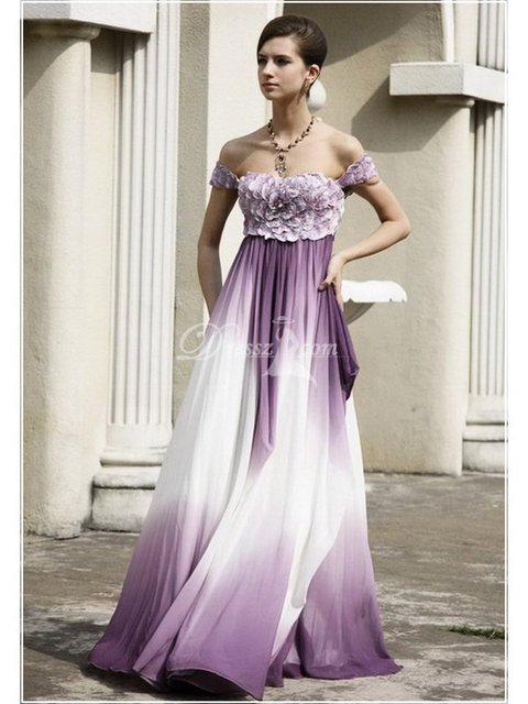 Custom Made Chic Elegant Chiffon Beaded Off the Shoulder Open Back Empire  Waist Pleated Fancy Evening