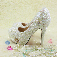 Luxurious Gorgeous Rhinestone Wedding Dress Shoes White High Heel Bridal Shoe   Popular Formal Shoes   women