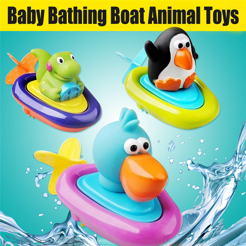 Bath Toys Clockwork Dabbling Toy Cartoon Mini Boat Animal Model Toys Baby Shower Toys Suit Baby Gift for tub or pool JE12#F
