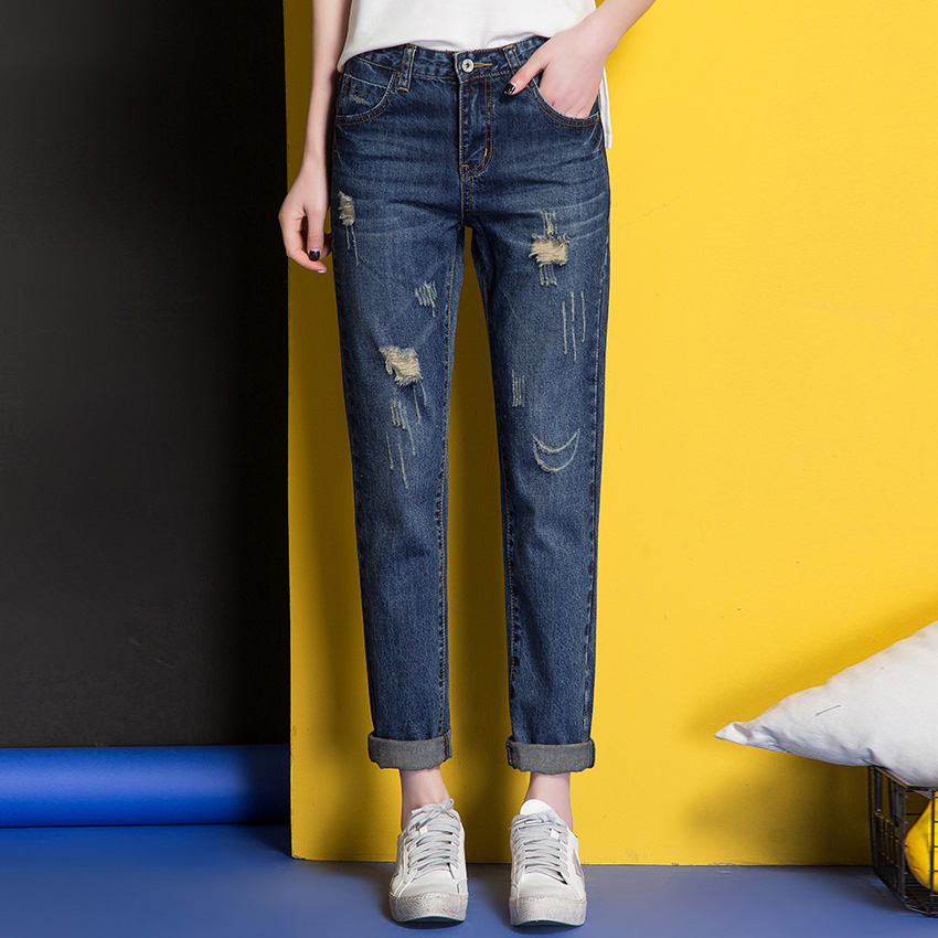 OUMENGKA New Autumn Jeans for women With Mid Waist Jeans Woman Plus Size Women Denim Femme Washed Casual Loose Pencil Pants ripped skinny jeans woman autumn fashion mid waist elasticity plus size denim trousers full length pants jeans femme