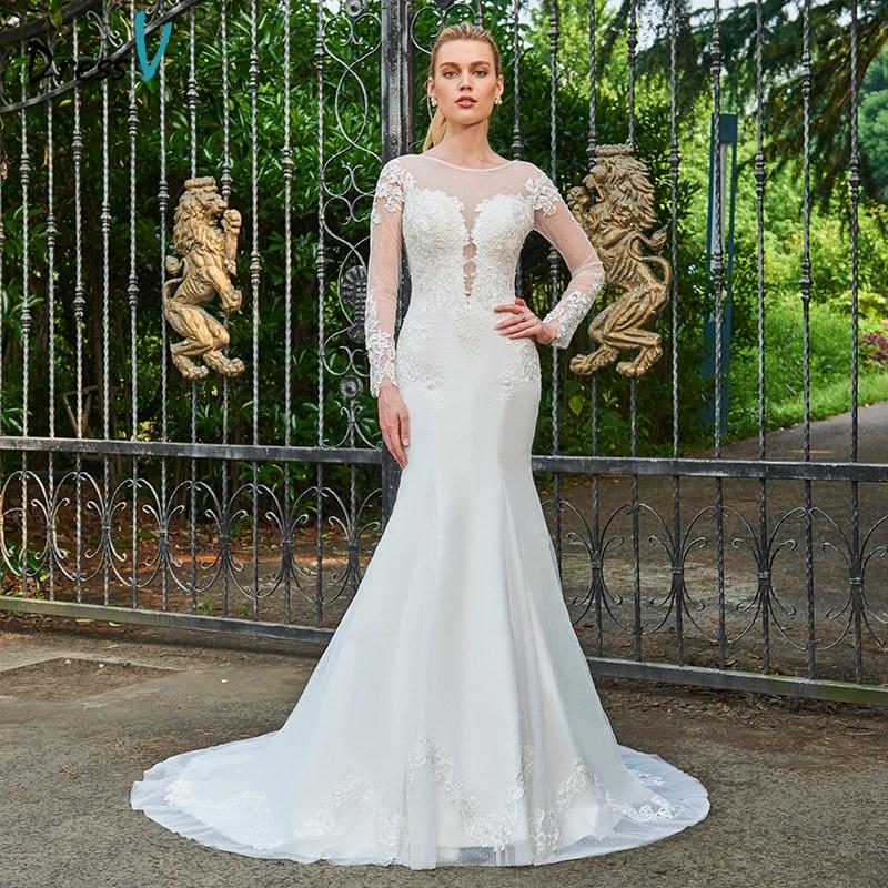 Dressv ivory long wedding dress scoop neck long sleeves for Ivory trumpet wedding dress