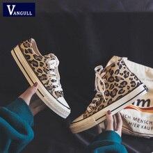 Vangull Women Flats Leopard Lace Up Comfort Shoes Ladies Canvas