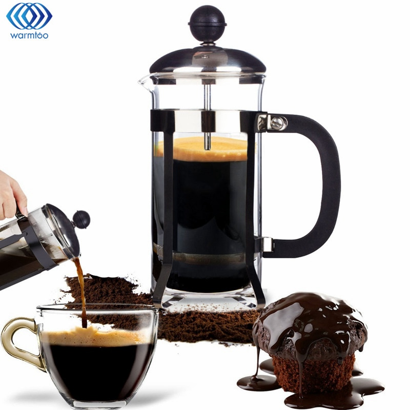 350ML French Coffee Maker Press Pot Coffee Tea Filter Glass Cafetiere Plunger Water Kettle Jug Home Coffee Tools bodum travel press set coffee maker off white