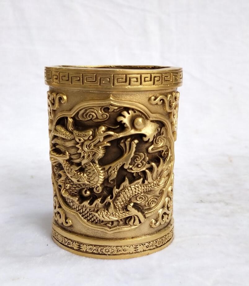 Collection en laiton chinois sculpté Dragon porte-stylo décoration d'art à la maison Vintage brosse pot en métal artisanat