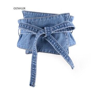 2019 marca Denim tela mujer Sim corsé cinturones vendaje Bowler cintura ancha cinturones Vintage lavado Jean señoras vestido cinturón Cummerbund