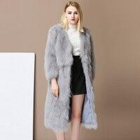 2017 Fashion Luxury Women's Real Fox Fur Long Coat Winter Outwear Slim Jacket Female Warm Soft Garment Plus Size Russia