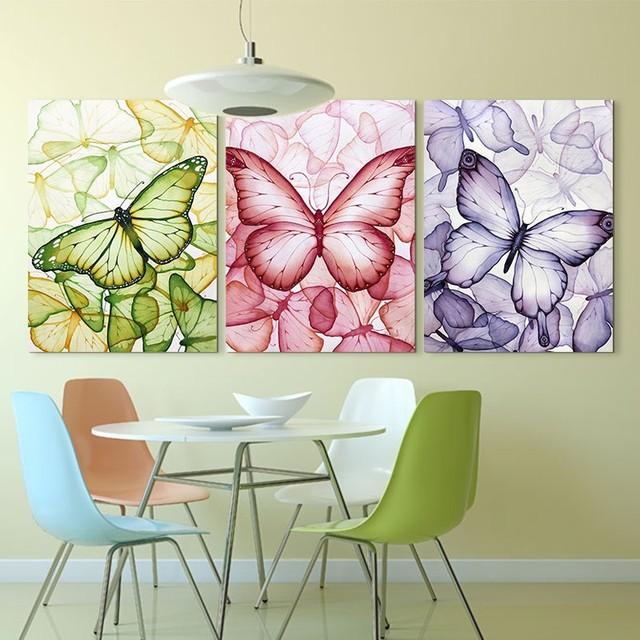 3 Piece Colorful Erfly Wall Painting Art Hd Printed Picture Canvas Modern Home Decor