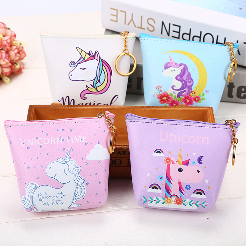 Cute Girl  Kids Coin Purses Holder Kawaii Animal Unicorn Women Mini Change Wallets Money Bag Coin Bag Children Zipper Pouch Gift ougold girl cylindrical character zipper new fashion coin purses mini portable headphones cute zero wallets