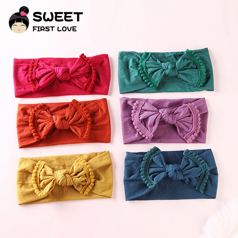 1pcs/lot 15Colors Soft Children Nylon Headbands Stretchy Big Bow Head bands for Girls Cute   headwear   headband hair accessory