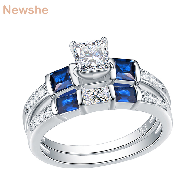 Newshe 2 Pcs Wedding Engagement Ring Set 1.24 Ct Princess Cut Blue Side Stone CZ 925 Sterling Silver Engagement Rings For Women