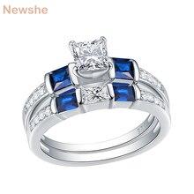 Newshe 2 pçs anel de noivado casamento conjunto 1.24 ct princesa corte azul lado pedra cz 925 prata esterlina anéis de noivado para mulher