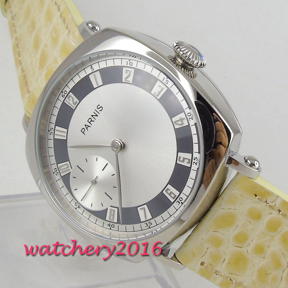 44mm Parnis black white dial brown Leather strap silver numbers mineral glass 6497 hand winding movement