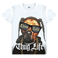 Vintage Thug Life Men T Shirt puppy dog Bulldog Design Hip Hop Rap Cool style T-shirt Hipster Tee