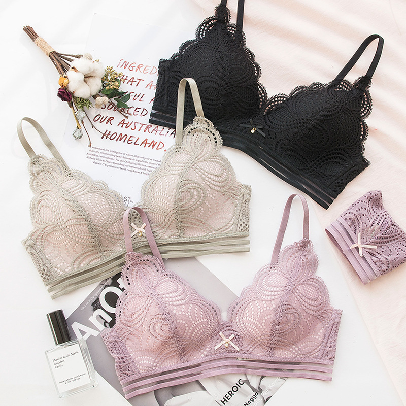 Wasteheart 2018 nuevas mujeres moda rosa de encaje arco Jacquard Trim inalámbrico Sexy Lingerie Set algodón acolchado Seamless Bra Sets