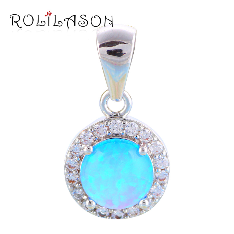 Top quality White Crystal Blue fire Opal Fashion jewelry Silver Stamped Necklace Pendants for gifts OP567 jzn0007 top quality blue opal gem silver necklace new trendy necklace for women fine jewelry gorgeous unisex chain necklace