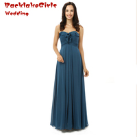 New Arrival 2017 Custom made Online Bridesmaid Dresses Sweetheart Blue off the shoulder Lace Party Long Chiffon Bridesmaid Gown