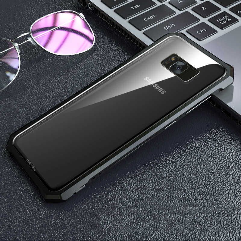 For Samsung Galaxy S9 S8/ Plus Case Aluminum Metal Bumper & Tempered Glass Cover Case For Samsung Galaxy Note 8/ S7 Edge Coque