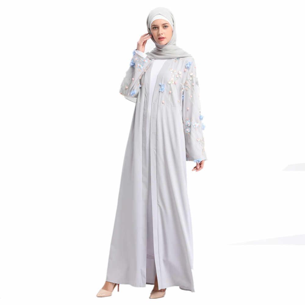 Женский Абая Дубай пальто мусульманский кафтан Черный Розовый Белый серый длинный кардиган аппликации Болеро хиджаб Исламская одежда головной платок 2019