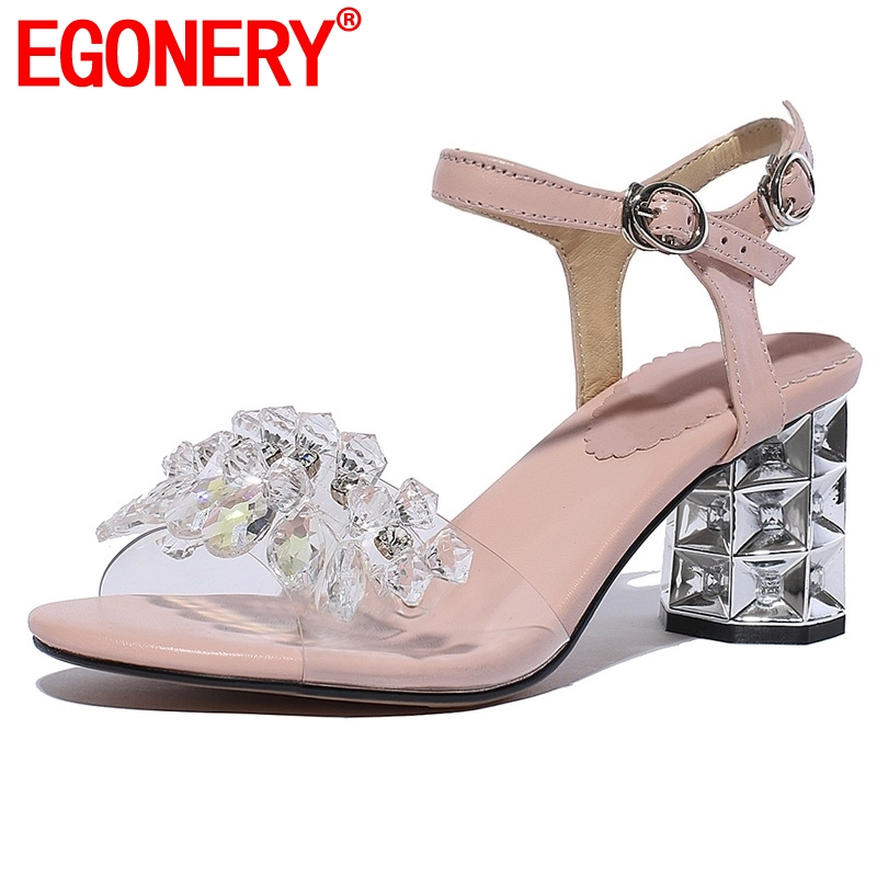 egonery women leather sandals 2019 summer fashion string bead genuine leather shoes high heels pumps fashion
