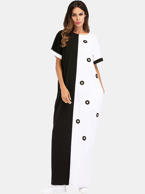 #187055 Musulman Fashion Hot Sell Mideast Muslim Women's Wear Euramerica Long Contrast Color Coloring and Splicing Dresses 3