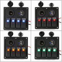 12 V 24 V 4 Gang LED Rocker Switch Painel Dual USB Poder carregador de Carro para Carro Barco Marinha RV Painel de Interruptores de Laranja Verde Vermelho azul