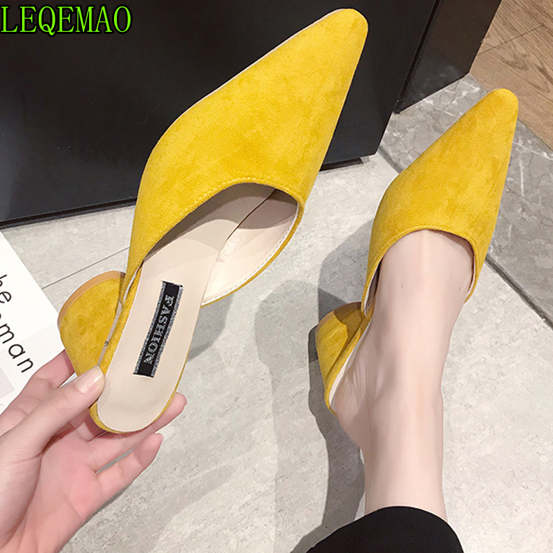 2019 Summer Women Flock Leather Yellow Slippers Mules Close Toe Round Toe Chunk High Heel Slip On Pointed Toe Ladies Flip Flops