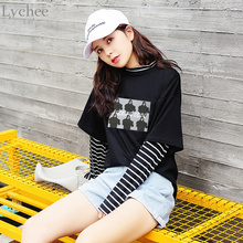 Stripe Patchwork Casual Loose Long Sleeve T Shirt