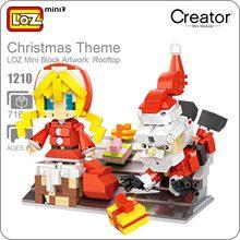 LOZ ideas Mini Block Artwork Rooftop Christmas Theme Santa Claus Gift Little Girl Building Blocks DIY Toys Figurines Dolls 1210