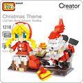 Loz ideas de mini bloque de obras de arte en la azotea tema de navidad de santa claus regalo niña bloques de construcción diy juguetes figuras muñecas 1210