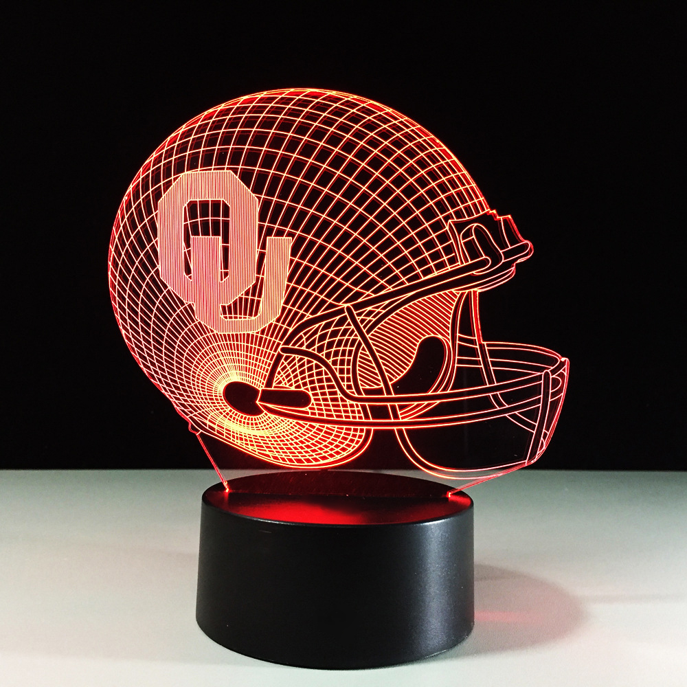Rugby Helmet 3D Desk Lamp USB LED Colorful Atmosphere Football Cap Hat Night Lights Baby Sleep Lighting Bedroom Decor Xmas Gifts