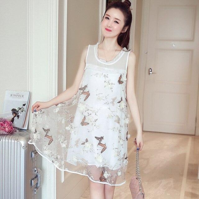 Nette mutterschaft kleider sleeveless sommerkleid hohe taille der ...