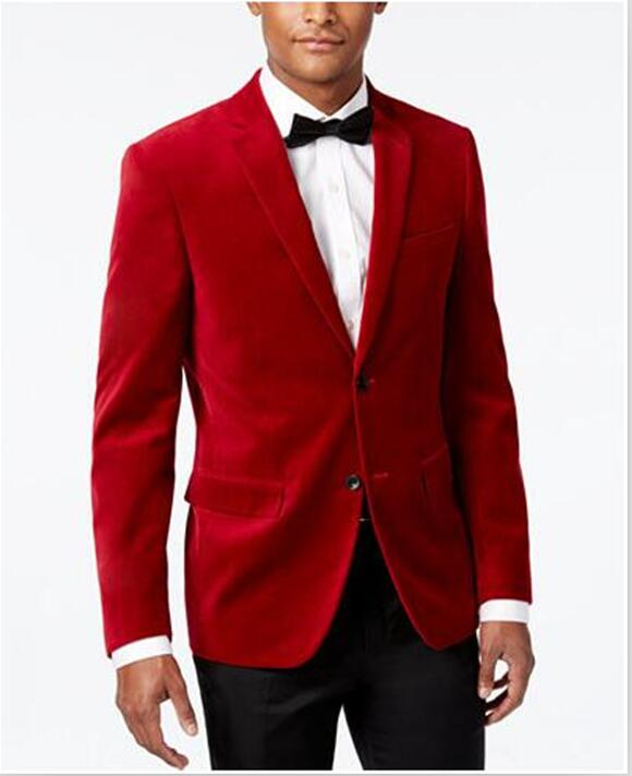 Latest Coat Pant Designs Red Velvet Formal Wedding Suits For Man Custom 2 Pieces Bridegroom Tuxedo Terno Jacket+Pants 202