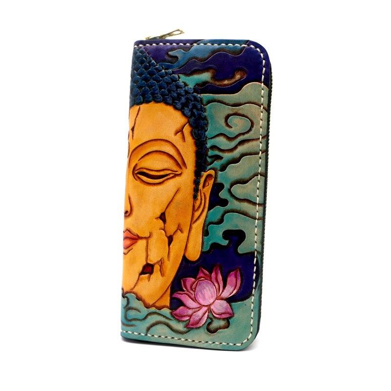 Femmes véritable porte cartes en cuir couleur portefeuilles Sakyamuni diable sac sacs à main hommes embrayage en cuir tanné végétal Long portefeuille cadeau - 4